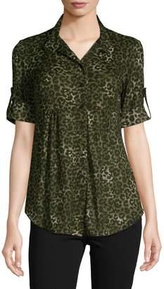 Style&Co. Style & Co. Petite Leopard-Print Three-Quarter Sleeve Shirt