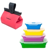 Lunch on the Go Collapsible Lunch Boxes & Water Proof Food Purse Lunch Bag Set (5 PC)