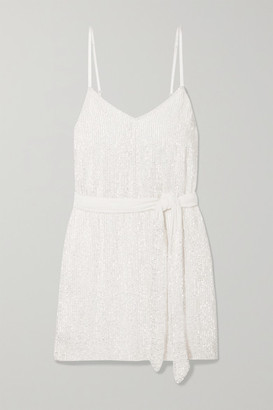 retrofete Claire Belted Sequinned Chiffon Mini Dress - White