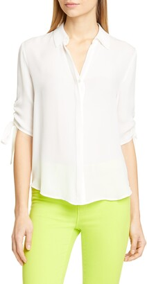 L'Agence Isa Ruched Sleeve Silk Blouse