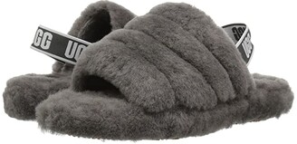 UGG Fluff Yeah Slide (Little Kid/Big Kid) (Charcoal) Girls Shoes