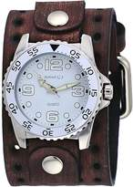 Nemesis BFLH097W Men's Amazing Groove Brown Perforated Wide Leather Band Watch
