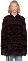 Yohji Yamamoto Purple Jacquard Sweater