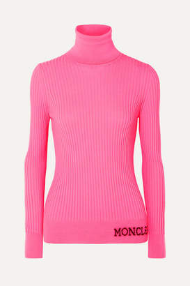 Moncler Intarsia Ribbed Wool Turtleneck Sweater - Pink