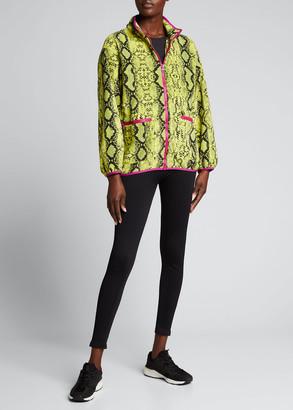 Terez Full-Zip Snakeskin-Print Fleece Jacket