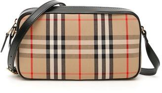 Burberry VINTAGE CHECK CAMERA BAG OS Beige, Black, Red Leather, Cotton