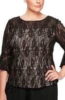 Alex Evenings Plus Size Women's Bell Sleeve Sequin Lace Blouse