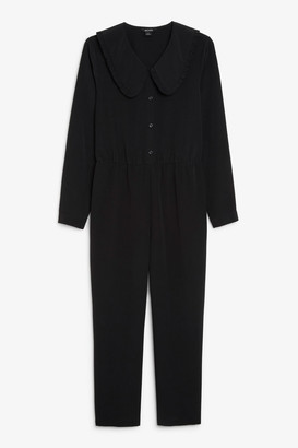 Monki Ruffle collar jumpsuit