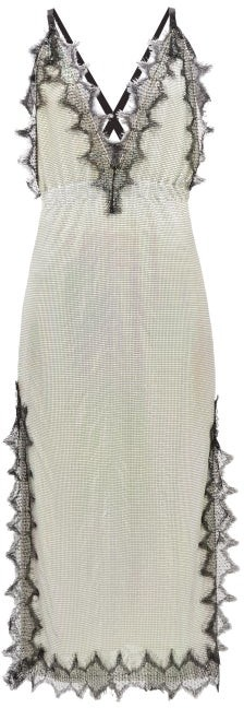Christopher Kane Eyelash Lace-trimmed Iridescent Chainmail Dress - Silver