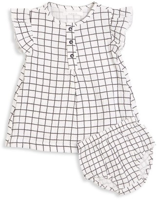 Firsts By Petit Lem Baby Girl's 2-Piece Ruffle Windowpane Dress & Bloomers Set