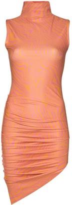 MAISIE WILEN Asymmetric Marble-Print Mini Dress