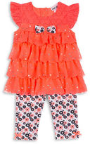 Little Lass Girls 2-6x Two-Piece Tiered Top and Leggings Set
