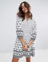 Yumi Belted 3/4 Sleeve Dress In Border Print