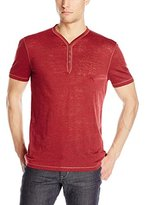 John Varvatos Men's Short Sleeve Burnout Henley