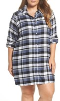 DKNY Plus Size Women's Plaid Sleep Shirt