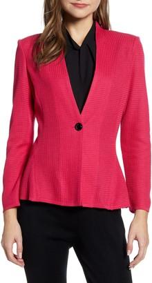 Ming Wang One-Button Jacquard Knit Jacket