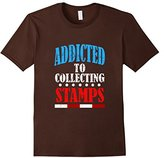 Men's ADDICTED TO STAMPS T-SHIRT Stamp Collection Gift Small