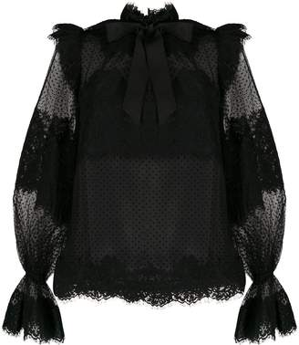 Zimmermann puff sleeve lace blouse