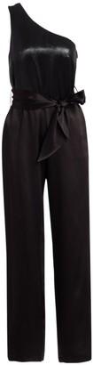 Carolina Ritzler One-Shoulder Belted Lame Satin Jumpsuit
