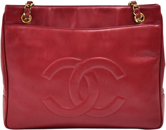 Chanel Red Leather Front Pocket Chain Tote