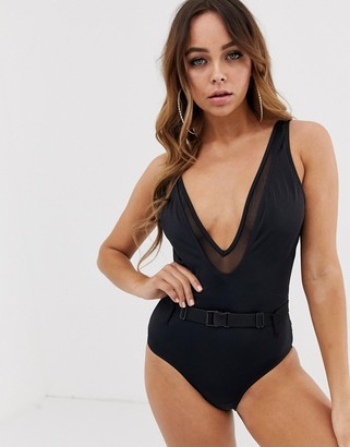 Pour Moi? Pour Moi plunge front swimwear-Black
