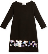 Milly Long-Sleeve Sequin Ponte Shift Dress, Black/Multicolor, Size 4-7