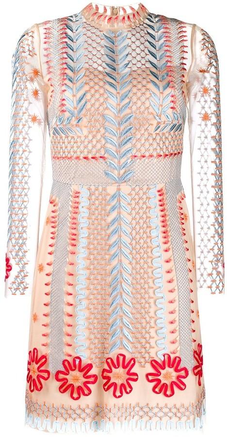 Temperley London Sheer Embroidered Mini Dress