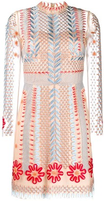 Temperley London Sheer Embroidered Mini Dress