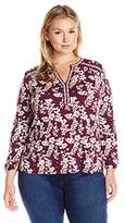 Lucky Brand Women's Plus Size Mixed Peasant Top