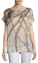 Lafayette 148 New York Lori Short-Sleeve Debonair Dots Silk Blouse, Multi Pattern
