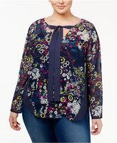 Rachel Roy Trendy Plus Size Tie-Neck Blouse