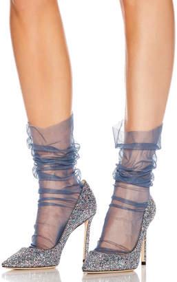 Pan & The Dream Bobbinet Italian Nylon Tulle Socks in Jeans | FWRD