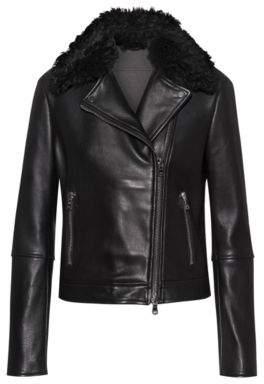 HUGO Regular-fit biker jacket in lamb leather