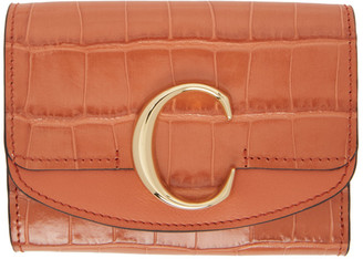 Chloé Orange Croc Small C Tri-Fold Wallet