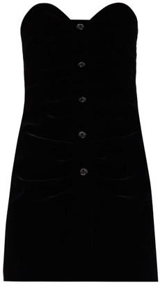 Saint Laurent Crystal-button Velvet Bustier Dress - Black