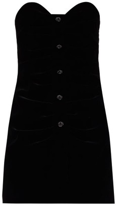 Saint Laurent Crystal-embellished Velvet Bustier Dress - Black