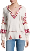 Love Sam Women's Cotton Embroidered Fringe Trimmed Blouse