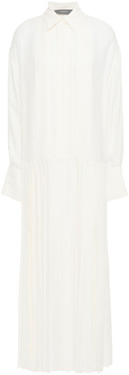 Joseph Cinna Pleated Silk-blend Seersucker Maxi Dress