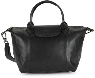 Longchamp Leather Convertible Top Handle Bag