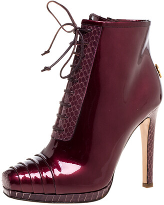 Roberto Cavalli Maroon Patent Leather and Python Embossed Leather Lace Up Ankle Boots Size 37