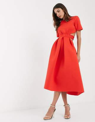 Asos Design DESIGN t-shirt belted cut out midi skater dress-Red