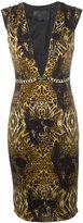 Philipp Plein printed plunge dress - women - Spandex/Elastane/Cupro - S