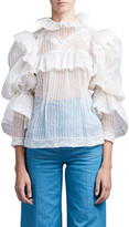 Pintucked Organza Lace Edwardian Blouse