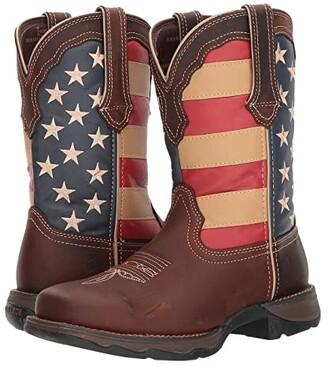 Durango Lady Rebel Flag Steel Toe (Brown) Cowboy Boots