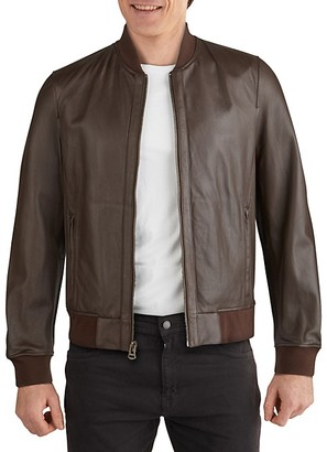 Cole Haan Varsity Bonded Leather Zip Jacket