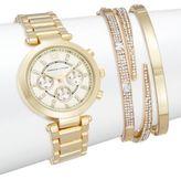 Adrienne Vittadini Glitz Goldtone Bracelet Watch Set