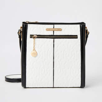 River Island White RI embossed messenger cross body bag