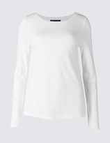 M&S Collection Pure Cotton Round Neck Long Sleeve T-Shirt