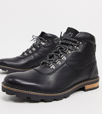 Ben Sherman wide fit hiker lace-up ankle boots black leather