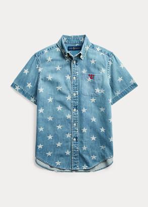 Ralph Lauren Star-Print Cotton Denim Shirt